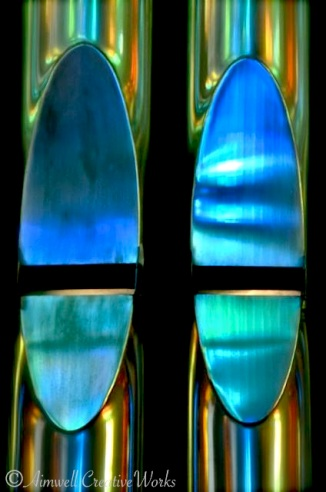 ... Organ pipes reflecting blue light  ...