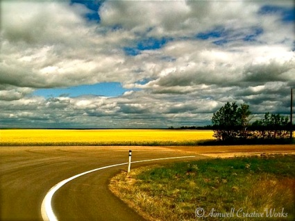 A curve in the prairie road, Alberta ...