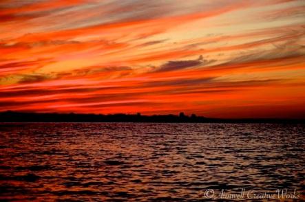 Fire on the horizon, Georgian Bay, Ontario
