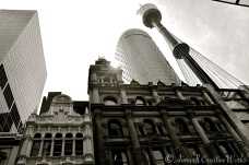 Looking up at Sydney Tower and its juxtaposing neighbours ~ from Pitt Street.