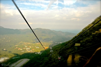 View from the ropeway to see Mt. Fuji.